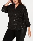 NY Collection Plus Size Foil-Accent Dot-Print Utility Shirt