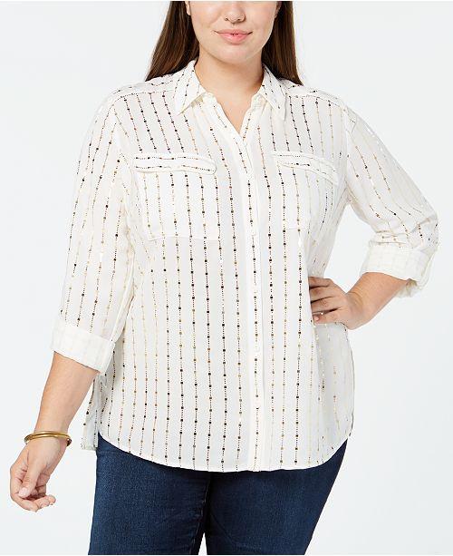 Plus Size Foil-Print Utility Shirt