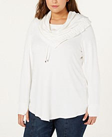 Plus Size Asymmetrical Cowl-Neck Sweatshirt