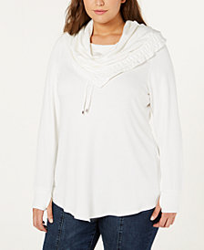 Belldini Plus Size Asymmetrical Cowl-Neck Sweatshirt