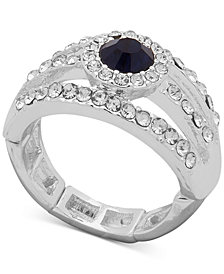 Anne Klein Silver-Tone Blue Stone & Crystal Stretch Ring, Created for Macy's