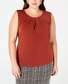 Kasper Plus Size Jewel-Neck Shell
