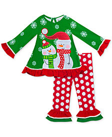 Rare Editions Baby Girls 2-Pc. Snowman Top & Leggings Set