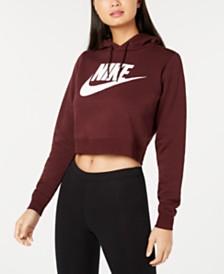 Nike Sportswear Rally Logo Cropped Fleece Hoodie