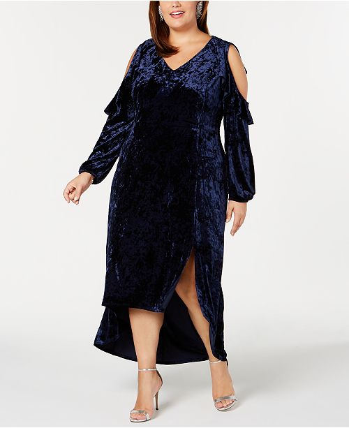 60bc3a110a1763 NY Collection Crushed-Velvet Cold-Shoulder Dress