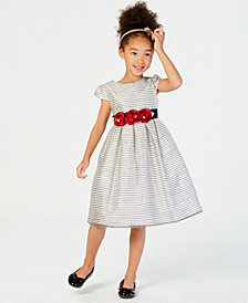 Jayne Copeland Little Girls Rose-Trim Striped Dress