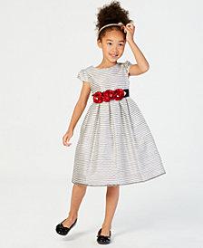 Jayne Copeland Little Girls Rose-Trim Striped Dress