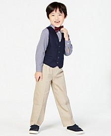 Little Boys' 3-Pc. Bowtie, Check Shirt, Navy Vest and Khaki Pant Suit Set