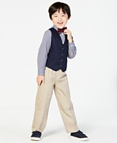 bb512865811a Nautica Little Boys' 3-Pc. Bowtie, Check Shirt, Navy Vest and