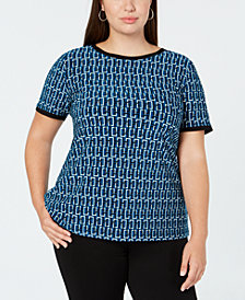 Anne Klein Plus Size Geo-Print Back-Button Top