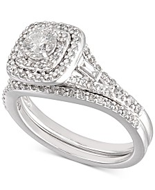 Certified Diamond Halo Bridal Set (1 ct. t.w.) in 18k White Gold, Created for Macy's