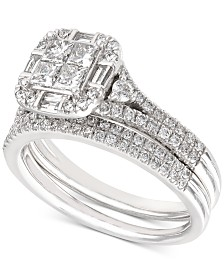 Diamond Princess Cluster Bridal Set (1-1/4 ct. t.w.) in 14k White Gold