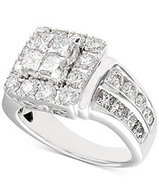 Diamond Princess Cluster Engagement Ring (3 ct. t.w.) in 14k White Gold