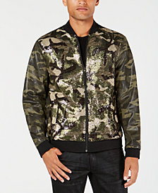 I.N.C. Men's Sequined Camo Bomber Jacket, Created for Macy's
