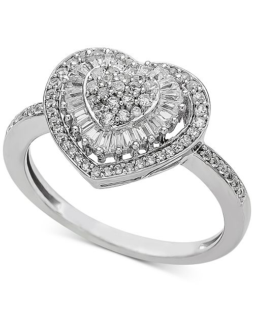 Macy's Diamond Heart Cluster Ring (1/2 ct. t.w.) in 14k White or Rose Gold