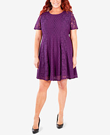 NY Collection Plus Size Lace Fit & Flare Dress
