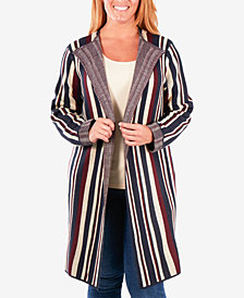 NY Collection Plus Size Long Striped Jacquard Knit Cardigan