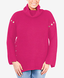 NY Collection Plus Size Grommet Turtleneck Sweater