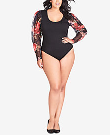 City Chic Trendy Plus Size Mesh-Sleeve Bodysuit