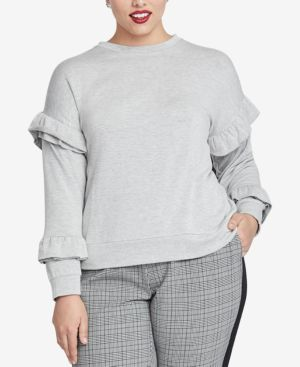 Trendy Plus Size Ruffled-Sleeve Top, Grey