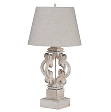 Bellamy Wood Antique White Finish Table Lamp