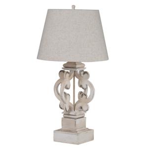 Image of Bellamy Wood Antique White Finish Table Lamp