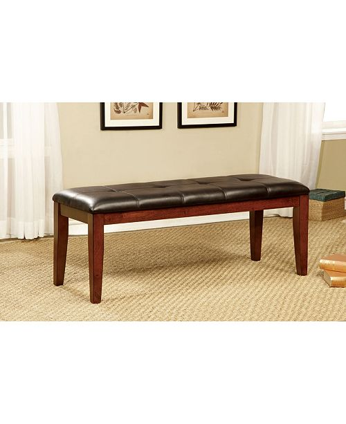 Furniture of America Claire Faux Leather Dining Bench