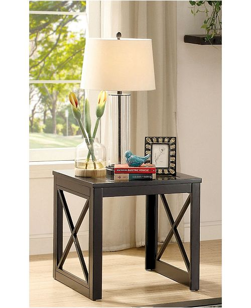 Furniture of America Pyxel Glass Top End Table
