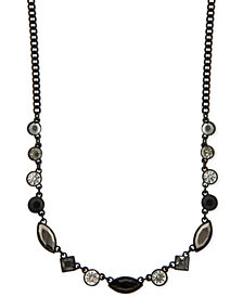 "DKNY Black-Tone Crystal & Stone Collar Necklace, 16"" + 3"" extender, Created for Macy's"