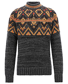 BOSS Men's Fair Isle Textured Sweater
