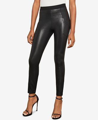 Black faux leather leggings by BCBG