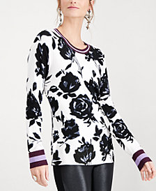 I.N.C. Floral Varsity Stripe Pullover Sweater, Created for Macy's