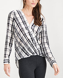 I.N.C. Plaid Burnout-Print Top, Created for Macy's