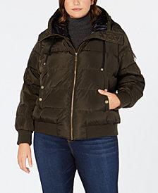 MICHAEL Michael Kors Plus Size Faux-Fur-Trim Hooded Bomber Coat