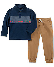 Calvin Klein Baby Boys 2-Pc. Cotton French Terry Top & Twill Pants Set
