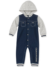 Calvin Klein Baby Boys Hooded Denim-Look Coverall