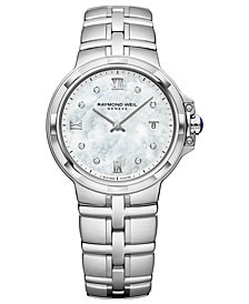 RAYMOND WEIL Women's Swiss Parsifal Diamond-Accent Stainless Steel Bracelet Watch 30mm