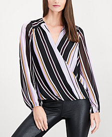 I.N.C. Petite Striped Surplice-Neck Top, Created for Macy's