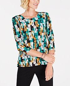 JM Collection Petite Printed Blouse, Created for Macy's