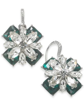 Charter Club Silver-Tone Emerald Crystal Drop Earrings