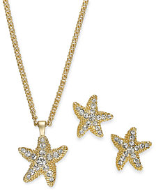 "Charter Club Gold-Tone Pavé Starfish Pendant Necklace & Stud Earrings Set, 17"" + 2"" extender, Created for Macy's"