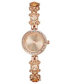 Charter Club Women's Rose Gold-Tone Crystal Flower Bracelet Watch 23mm, Created for Macy's