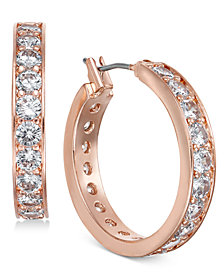 Charter Club Rose Gold-Tone Crystal Hoop Earrings, Created for Macy's