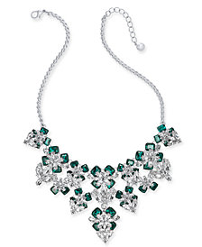 "Charter Club Silver-Tone Emerald Crystal & Stone Flower Statement Necklace, 17"" + 2"" extender, Created for Macy's"