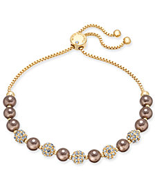 Charter Club Gold-Tone Imitation Chocolate Pearl and Crystal Bolo Bracelet, Created for Macy's