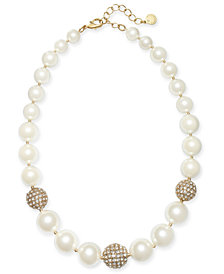 "Charter Club Gold-Tone Pavé Bead & Imitation Pearl Collar Necklace, 17"" + 2"" extender, Created for Macy's"