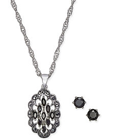 Charter Club Silver-Tone Crystal Marquee Pendant Necklace and Earrings Set, Created for Macy's
