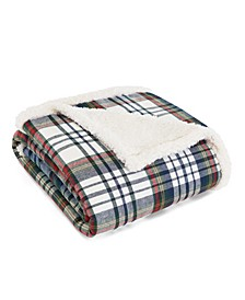 Anderson Plaid Cadet Blue Flannel Sherpa Throw