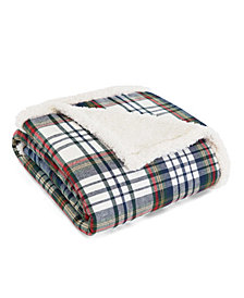 Eddie Bauer Anderson Plaid Cadet Blue Flannel Sherpa Throw