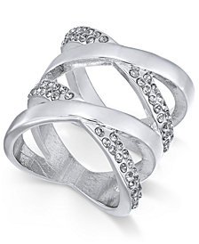 Thalia Sodi Silver-Tone Pavé Statement Ring, Created for Macy's